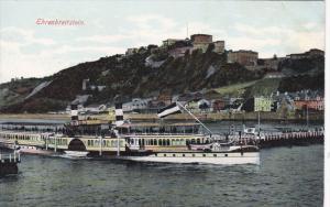 EHRENBREITSTEIN, Germany, 1900-1910's; General view, Steamship