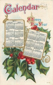 New Year Calligraphy~Holly Berry~Calendar Months 1911~Gold Leaf Emboss Postcard