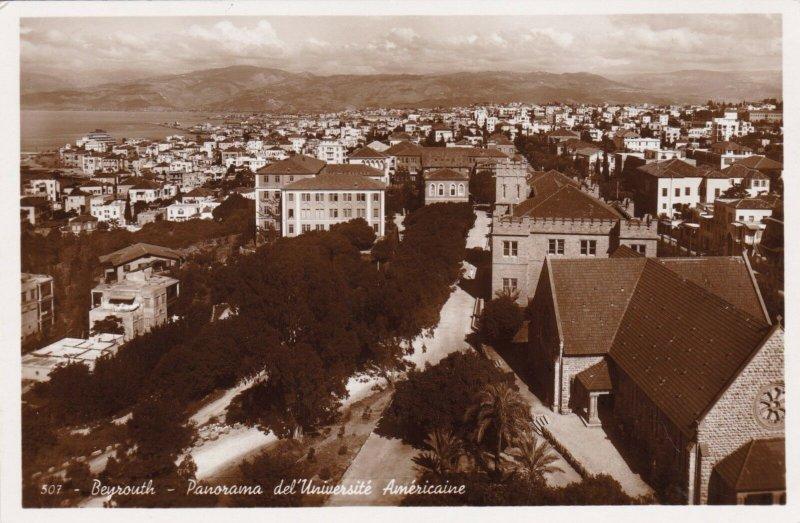 Lebanon Beirut Beyrouth Panorama del'Universite Americaine Real Photo sk3639