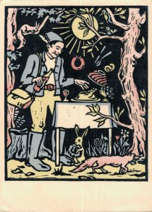 Art Deco Lunch in the Forest Vintage Postcard BS.05