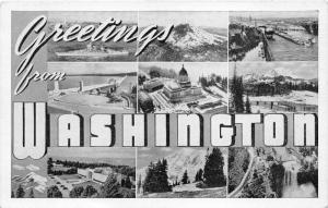 Washington~9 Views of Washington Large Letter Greeting~Note from Soldier~1920s