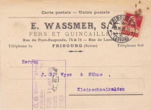 E. WASSMER Fers et QUINCALCCERLE , Fribourg , Switzerland , PU-1928