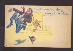 I GET BOOSTED ALONG EVERY LITTLE WHILE BLACK AMERICANA VINTAGE COMIC POSTCARD