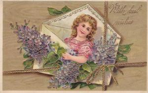 Envelope Girl w/ flowers , With Best Wishes , 00-10s