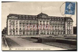 Old Postcard Deauville hotel royal flower beach