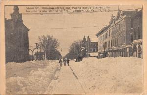 E20/ London Ohio Postcard 1910 Main Street Blizzard Trolley Disaster Winter