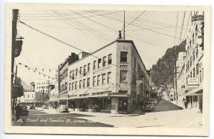 Juneau AK Movie Theatre Maquee Store Fronts Old Cars RPPC Real Photo Postcard