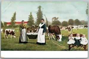 MULTIPLE BABIES COW MILKING FRAM SCENE ANTIQUE POSTCARD
