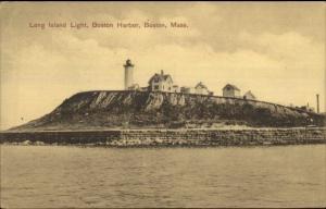 Boston MA Long Island Lighthouse c1910 Postcard Version #2