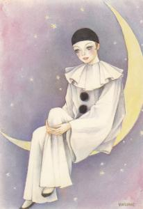 French Female Pierrot On Crescent Moon Postcard