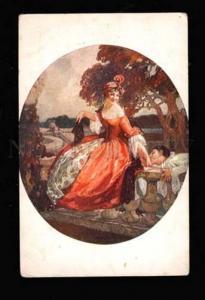 014190 CARNIVAL Lady BELLE w/ PIERROT by DOMERGUE vintage PC