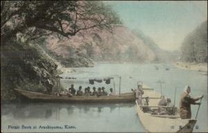 Kioto Kyoto Japan Picnic Boats at Arashiyama c1910 Hand Colored Postcard