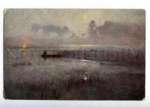 161378 FISHING Fisherman in Boat FOG by GALIMSKY Vintage PC