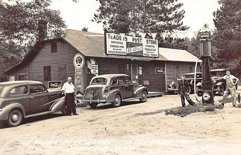 McGregor MN Trader's Post Store Red Crown Gas Pump Old Cars Coca-Cola Sign RPPC