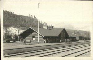 Banff AB Lake Louise RR Train Station Byron Harmon Real Photo Postcard c1915
