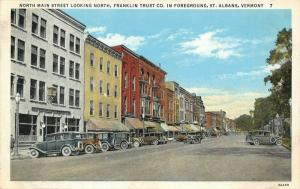 St Albans Vermont~North Main Street~Franklin Trust Savings Bank~Stores~1920 Cars