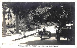 Nassau Bahamas Parliament Street Horse & Wagon Real Photo Postcard