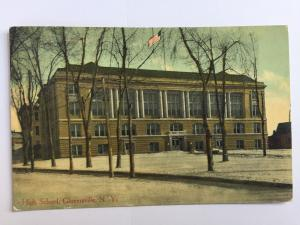 Gloversville NY 1911 New York High School Building vintage Postcard A24