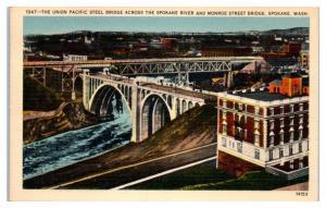 1947 Union Pacific Steel Bridge, Spokane River & Monroe St. Spokane, WA Postcard