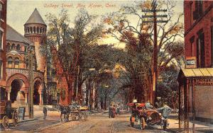 New Haven CT Dirt College Street View Trolley Tracks Horse & Wagon Car Postcard