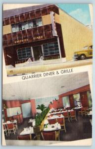 Postcard WV Charleston Quarrier Diner & Grille Steak Restaurant Interior S19