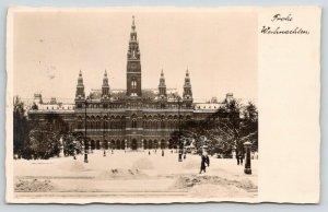 Vienna Austria~City Hall~Snow~Drs Harold Inez Cornell~Battle Creek MI~1932 RPPC
