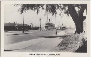 Ohio Real Photo RPPC Postcard c1950 CLEVELAND East 9th St DOCKS SHIPS Pier