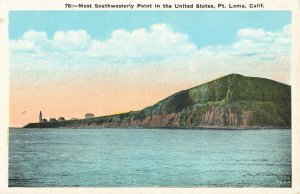 Postcard Most Southwesterly Point in the U. S., Pt. Loma, California ME3.