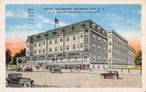 Hotel Arlington, Atlantic City, N.J., Early Linen Postcard, Used in 1935