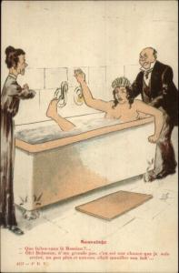 Nude Woman - Bath Tub Being Rescued - Drowning? c1915 French Postcard