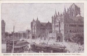 India Bombay Bori Bunder Tram Terminus Showing Victoria Terminus & G I P Rail...