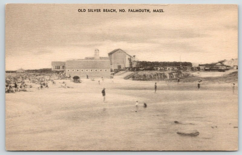 North Falmouth Massachusetts~Swimming @ Old Silver Beach~Bldgs Along Shore~c1920