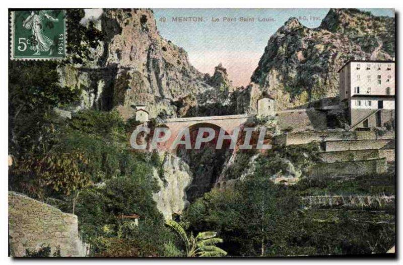 Postcard Old Bridge Saint Louis Menton