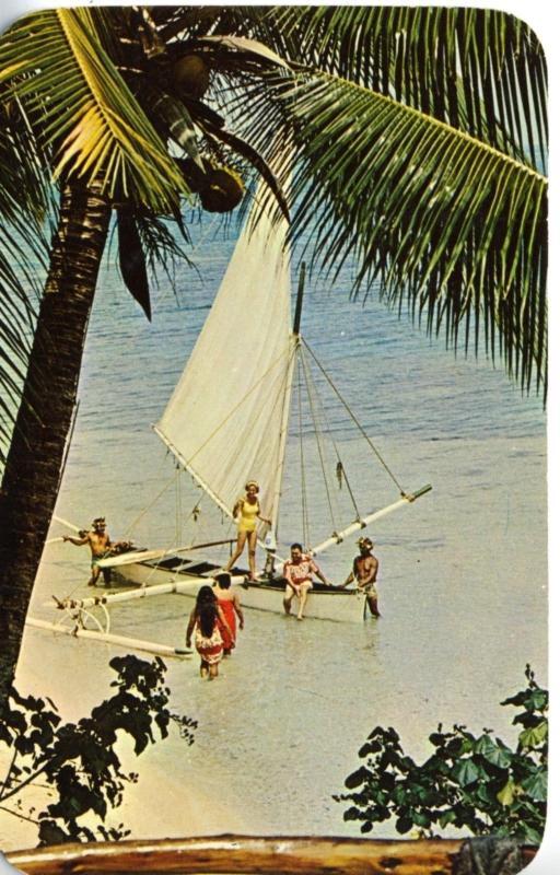 People Sailing and Beach, Bora Bora. Pan American  Postcard
