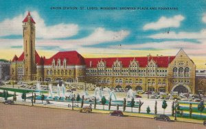 H-040 - Union Station w/ Plaza & Fountains, in St Louis, MO Picture Postcard