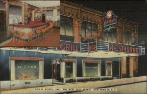 New York City West 38th Lou Siegel Grill Bar Restaurant NICE LINEN Postcard