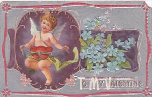 Valentine's Day Cupid & Blue Flowers