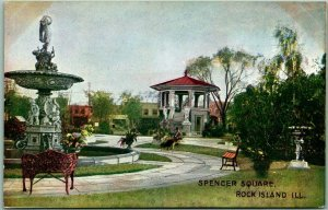 1910s Rock Island, IL Postcard SPENCER SQUARE Park View Fountain Band Stand