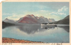 F48/ Glacier National Park Montana Postcard 1916  Lake St Mary Boat 1