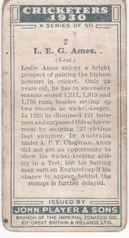Cigarette Cards Player's Cricketers 1930 No 2 - L E G Ames (Kent)