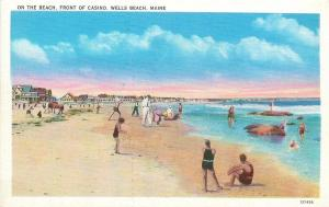 Wells Beach Maine~On the Beach~Front of Casino~Older Couple Walk~1940s Postcard