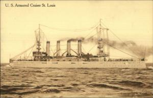 US Navy Armored Cruiser Ship St. Louis - Bath NY Piano Store Adv on Back PC