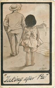 Taking After Pa~Little Girl on Beach~Father~Hands in Pockets~Artist AE Hayden