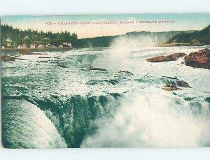 Pre-Chrome WATERFALL SCENE Willamette River Falls - Oregon City Oregon OR AG4376