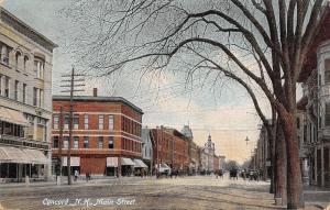 Concord New Hampshire~Main Street~Richardson & Adams~Dirt Road~1910 Postcard