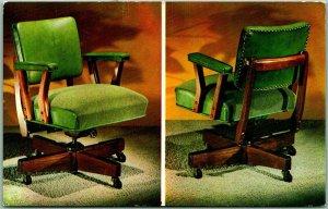 1950s Chrome Advertising Postcard Executive Posture Office Chair Avocado Green