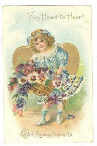 TUCK 11, From Heart to Heart, With Loving Thoughts, Girl with basket of flowe...