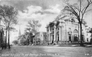 Utica New York~Upper Genesee Street~Savings Bank~People~Church~Code?? on Bk~1910