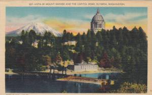 Vista Of Mount Rainier And The Capitol Dome, Olympia, Washington, 1930-1940s