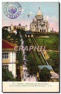 Old Postcard Paris Basilique du Sacre Coeur and Montmartre Funicular Reservoir